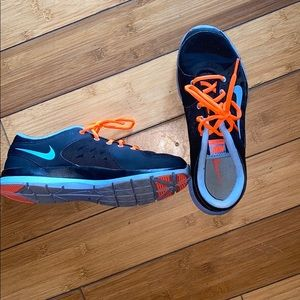 Blue and neon orange Nike Tennis Shoes